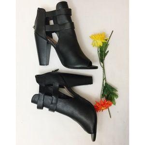 BAMBOO chunky heel peep-toe shoe boot